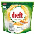 Dreft Vaatwastabs Clean & Fresh All in One Citrus Tuin 16 stuks