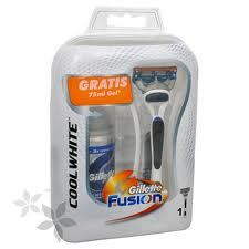 Gillette Fusion scheersysteem Cool White edition + gratis 75 ml scheergel