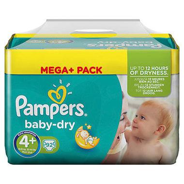 Pampers Baby Dry Luiers maat 4+ Maxi Plus Mega Pack 92 stuks