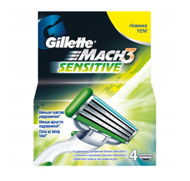 Gillette Mach3 Sensitive Scheermesjes (4 st.)