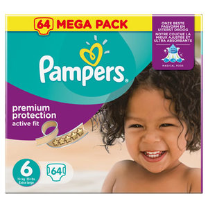 Pampers Premium Protection Active Fit Maat 6 Extra Large (15+ kg) 64 Luiers
