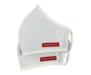 Ademhalings Masker / Mondkapjes Kartoen FFP2 Nano Zilver 2 stuks Wit Wasbaar